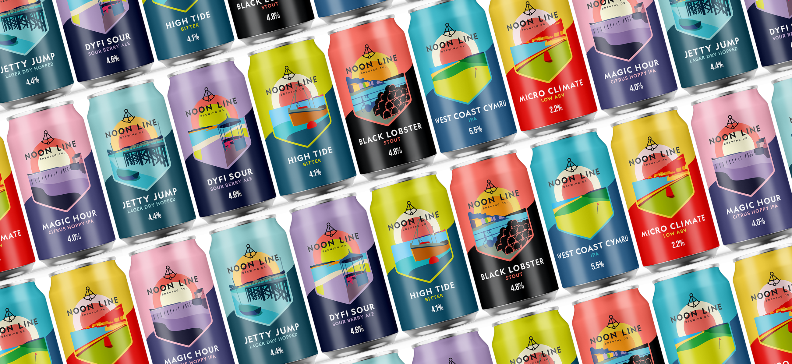 Noon Line Brewing Co packaging design