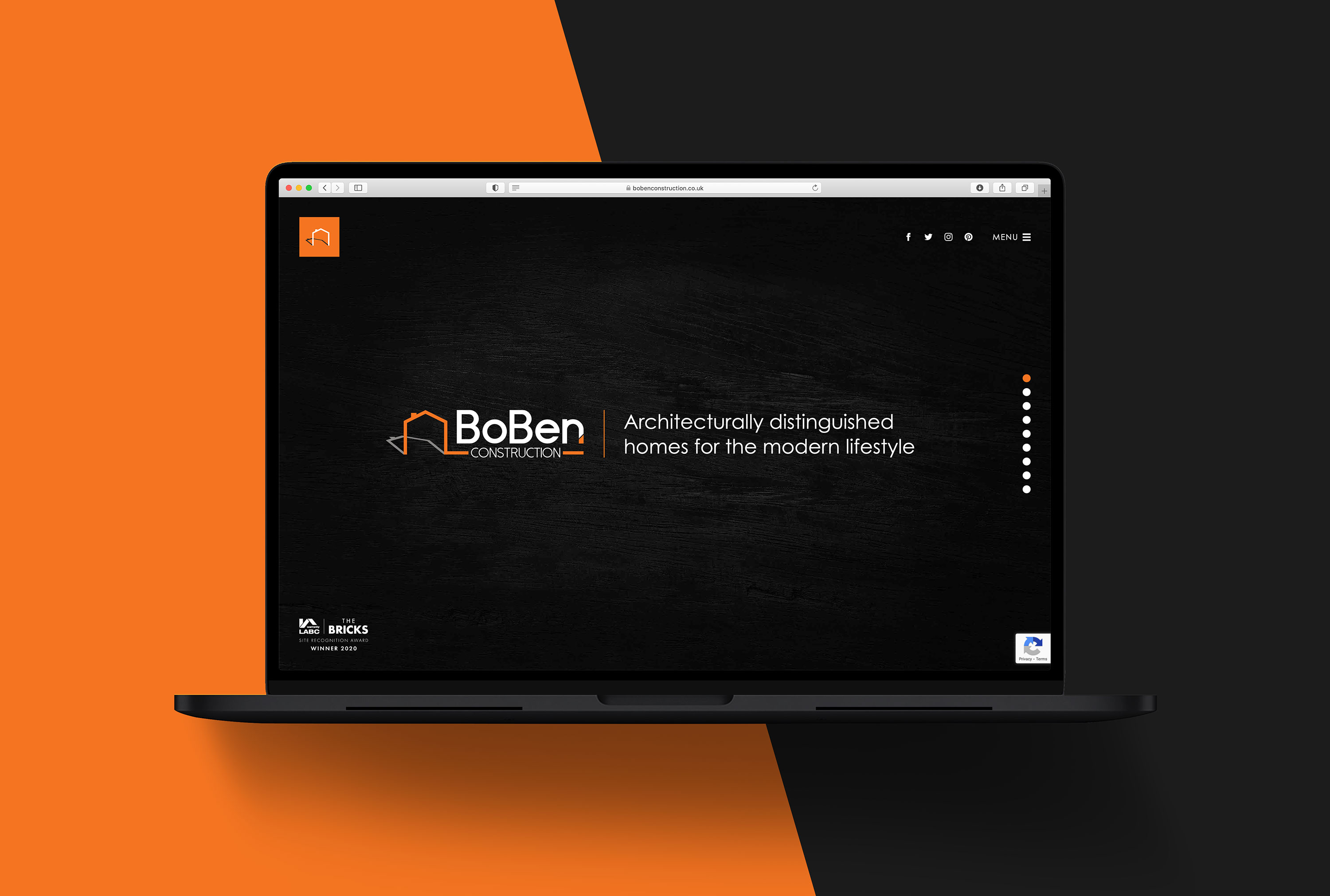 Boben Construction website design