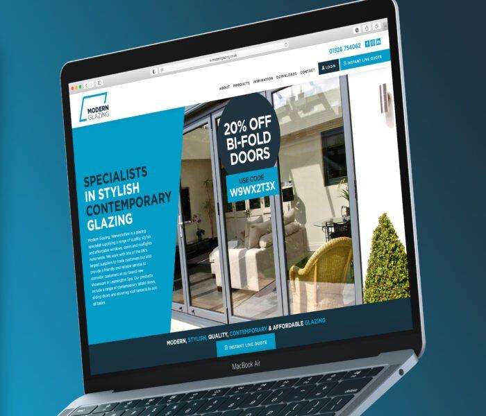 Modern glazing website on MacBook
